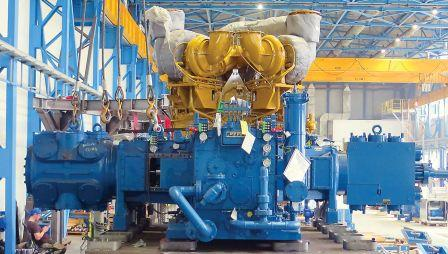 Ariel KBU/6 opposed reciprocating compressor with the drive from Caterpillar G3616LE engine